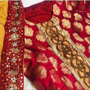 Dresses & Skirts - Red and gold mehndi Sangeet jaggo sharara